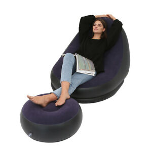 Lazy Sofa Home Furniture Air Inflation Cozy With Foot Stool Recliner Living Room