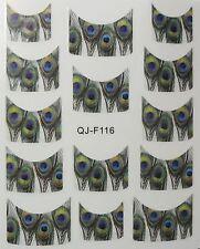 Accessoire ongles : nail art - Stickers décalcomanie - motifs plumes de paon