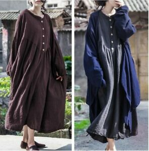 Vintage Style Women Cotton Linen Oversized Robes Puff Sleeve Dresses Maxi Spring