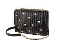 NWT Tory Burch Fleming Star-Stud Small Leather Convertible Shoulder Bag  Black