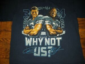 Marshawn Lynch & Russell Wilson Why Not Us Seattle Seahawks Kids M Shirt Youth
