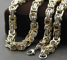 55cm Men's Gold and Silver Stainless Steel Byzantine Huge Big Necklace Chain