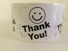 """500 THANK YOU SMILEY 2"""" Black & White BEST PRICE THANK YOU LABELS 2"""" SHIPPING"""