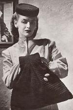 Vintage Crochet PATTERN to make Pillbox Hat Muff Bag Purse 1940s