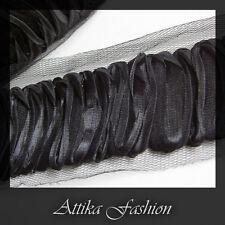 Elegant Black --- Organza Mesh Fabric Lace Trim *Per yard*