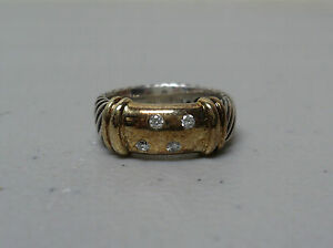 AUTHENTIC DAVID YURMAN 14K & STERLING CABLE & DIAMOND RING, Size 5.25