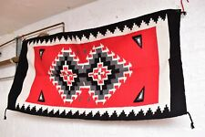 Southwestern flat weave SADDLE BLANKET RUG LG 64x32 Diamond Pattern  RED