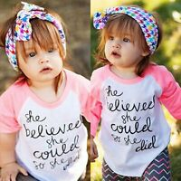 Toddler Kids Baby Girls Summer Casual Tops Long Sleeve T-shirt Blouse Clothes