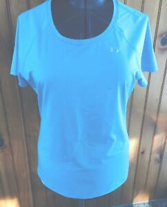 Under Armour Womans Large Heat Gear Fitted Pullover Blue Striped Shirt