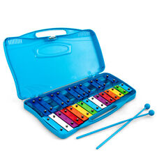 25 Notes Kids Glockenspiel Chromatic Metal Xylophone W/ Blue Case and 2 Mallets