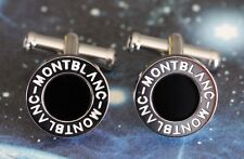 MONTBLANC ROUND CUFFLINKS BLACK ONYX & PLATINUM PLATED - NEW OLD STOCK