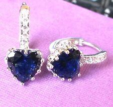 FH Plum UK blue sapphire heart silver WHITE GOLD gf French Hoop Earrings