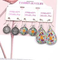 3Pairs/Lot Bohemian Colorful Resin Bead Waterdrop Dangle Tassel Women Earrings