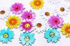 Chrysanthemum Wooden Button Flower Floral Large Children Baby Wood 34mm 20pcs