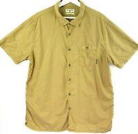 Billabong Mens Sz Large Olive Green Collared Short Sleeve Button Up Casual Shirt