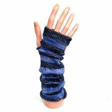 Knitted Long Fingerless Gloves - Blue/Black Stripe Sparkle - Winter Christmas