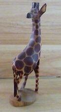 """Hand Carved Wood Giraffe 12"""" tall 3 3/4"""" length 2 3/4"""" deep ~ weighs"""