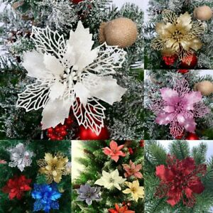 10X Christmas Large Poinsettia Glitter Flower Tree Hanging Party Xmas Decor New