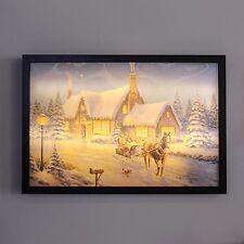 50x35CM noël lenticulaire 3D traîneau wall art decor toile light up led print