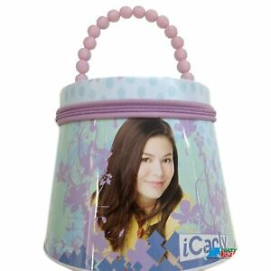 iCarly Round Tote Carry All Tin Box Lunchbox Lunch Box with Zipper - Purple