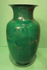 """Antique Chinese Porcelain Vase Dark Emerald Green 15"""" Late 18th/Early 19th"""