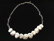 """SILPADA STERLING SILVER TEXTURED DISK LINKED NECKLACE N1984 18.5"""""""