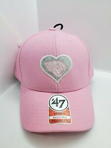 Carolina Panthers '47 MVP Toddler Pink with Sparkly Heart Strapback Hat Cap New