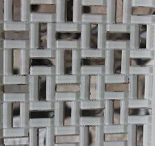 """ICEBERG"" Ice White Glass Mosaic Tiles Silver Steel Metal Tile Bath Backsplash"