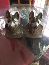 ANTIQUE PAIR of CAST BRONZE WOLF HEAD BOOKENDS ~ HEAVY