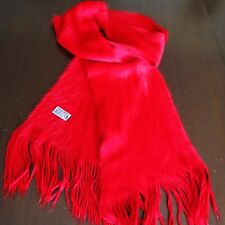 "Wool Red Scarf 64"" Long Neck Wrap Winter Excellent Super Soft"