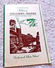VINTAGE MENU KILAUEA VOLCANO HOUSE HAWAII NATIONAL PARK 1966
