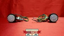 F5 CAFE RACER INDICATOR LED MATTE BLACK METAL CASE WITH CLEAR LENSE PAIR