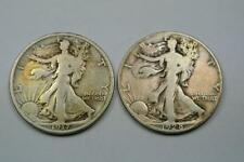 TWO Walking Liberty Half Dollars, 1917 Fine, 1928-S VG - C2685