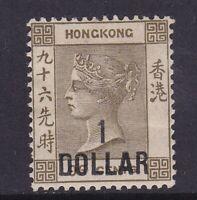 HK524) Hong Kong 1885 wmk Crown CA QV surcharges $1 on 96c Grey-olive SG 42