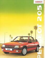PEUGEOT 205 CABRIOLET CAR SALES BROCHURE AUGUST 1988 FOR THE 1989 MODEL YEAR
