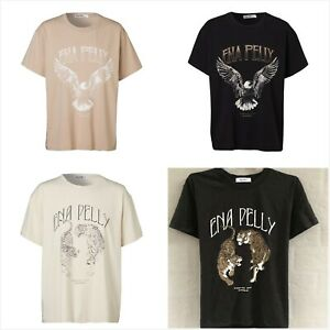 """""""Ena Pelly"""" Ladies Graphic Tee Shirt Oversized Fit Cotton-blend Jersey Tops 6-16"""