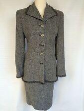 LOUIS FERAUD Gray Tweed Skirt  Suit Jacket- blazer French 38 USA 8 M