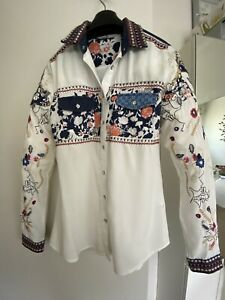 Desigual Shirt Size S Embroidered Cotton Designer As New