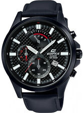 Edifice Mens Steel Case Motor Sports Inspired All Black Chronograph. EFV530BL-1A