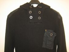 A LOVELY MENS SLIM TWISTED SOUL BLACK HOODED  LONG SLEEVE TOP  SIZE EXTRA  SMALL