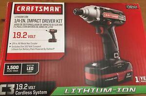 "NOS Craftsman 19.2V C3 1/4"" Impact Driver Kit Unopened"