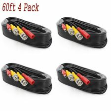 4PACK 60FT Security Camera Cable CCTV Video Power Wire BNC RCA Black Cord DVR