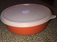 Vintage Tupperware Orange Wonder Bowl With Lid 1405