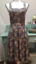 Anthropologie Little Yellow Button Women's Dress Bayside Gray Coral New Small