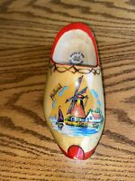 Vintage Wooden Dutch Clog Shoe Hand Painted Holland Windmill 1 Shoe