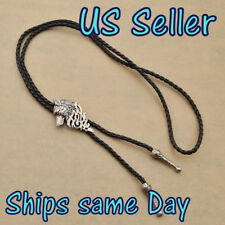 NEW Leather Necktie Cap Bolo Tie Rodeo Necklace Wolf Head Silver Men's 1PC