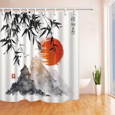 Japan Mount Fuji And Bamboo Sun Waterproof Fabric Bathroom Shower Curtain 71Inch