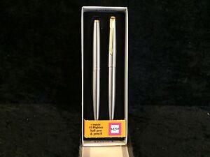Parker 45 Flighter & Gold Ballpoint Pen &  0.9 Pencil Set New In Bx Made In Usa