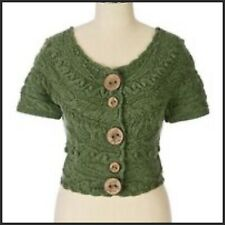 Sleeping on Snow Green Wool Blend Changeling Cable Knit Open Neck Crop Sweater M