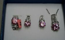 Women's Pink Sapphire White Austrian Crystal Stainless steel Earrings,necklace a